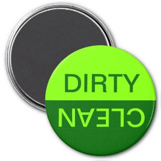 Chartreuse und dunkelgrüner schmutziger sauberer runder magnet 7,6 cm