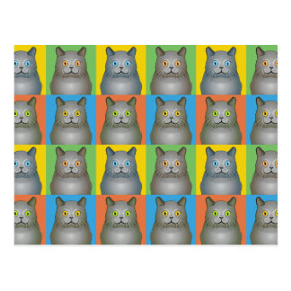 Chartreux Katzen-Cartoon Pop-Kunst Postkarte