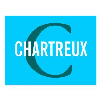 Chartreux Katzen-Monogramm-Entwurf Postkarte