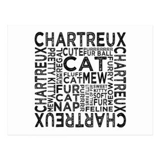 Chartreux Katzen-Typografie Postkarte