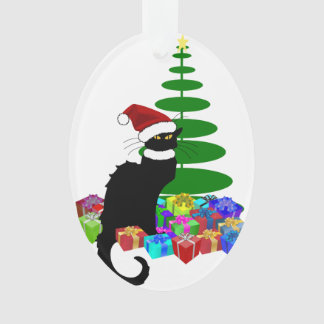 Chat Noir mit Weihnachtsbaum und Geschenken Ornament