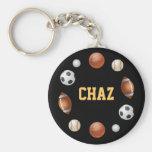 Chaz Welt des Sports Keychain - Schwarzes Schlüsselband