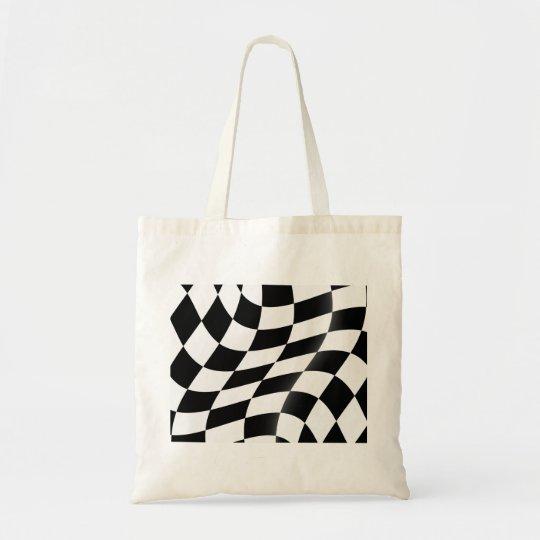 Checkered Flaggen-Taschen-Schwarzweiss-Tasche Budget Stoffbeutel