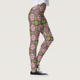 Checkered Gamaschen-kariertes rosa Grün Leggings