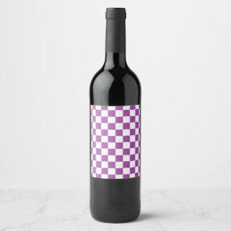 Checkered Lila und weiß Weinetikett