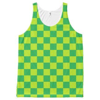 Checkered Limones Grünes und grün Komplett Bedrucktes Tanktop