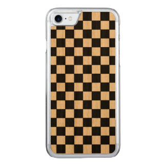 checkered Schwarz-aufholz gemustert Carved iPhone 8/7 Hülle