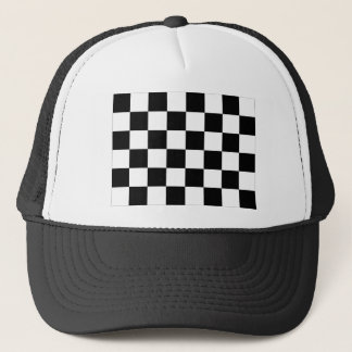 Checkered Schwarzweiss-Auto, das Flagge läuft Truckerkappe