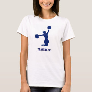 Cheerleader in der Silhouette springt Poms T-Shirt