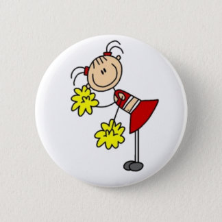 Cheerleader-Strichmännchen Runder Button 5,7 Cm