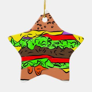 Cheeseburger Keramik Ornament