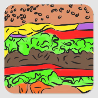 Cheeseburger Quadratischer Aufkleber