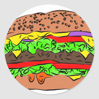 Cheeseburger Runder Aufkleber