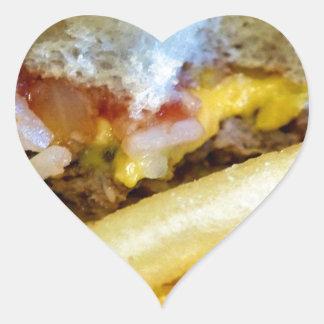 Cheeseburger und Fischrogen Herz-Aufkleber