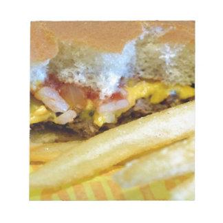 Cheeseburger und Fischrogen Notizblock