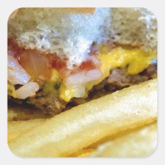 Cheeseburger und Fischrogen Quadratischer Aufkleber
