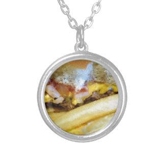 Cheeseburger und Fischrogen Versilberte Kette