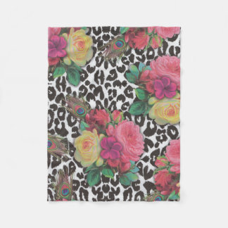Cheetah-Blumenpfau-Fleece-Decken-Rose Fleecedecke
