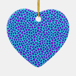 Cheetah-Druck lila auf Blau Keramik Ornament