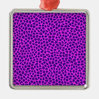 Cheetah-Druck lila auf Rosa Silbernes Ornament