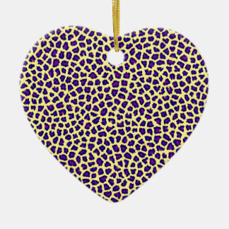 Cheetahdruck lila auf Gelb Keramik Ornament
