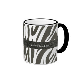 "Chef:  Der beste Chef"" Zebra ""der Welt Stripes Ringer Tasse"