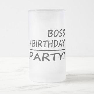 Chef-Geburtstage: Chef + Geburtstag = Party Matte Glastasse