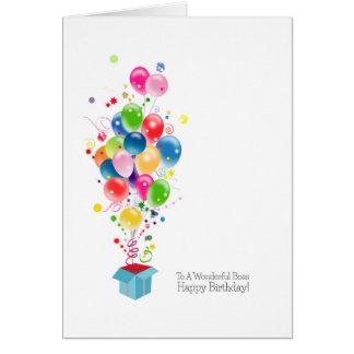 Chef-Geburtstagskarten-Ballone, die aus Kasten Karte