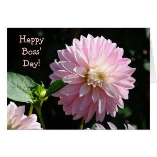Chef-Karten-rosa Dahlie-Blumen-glücklicher Chef-Ta