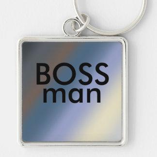 CHEF-Mann-Schlüsselring Silber/stehlen blaue Silberfarbener Quadratischer Schlüsselanhänger