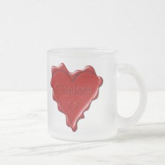 Chelsea. Rotes Herzwachs-Siegel mit Namenschelsea Mattglastasse