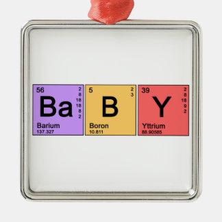 Chemie-Baby Quadratisches Silberfarbenes Ornament