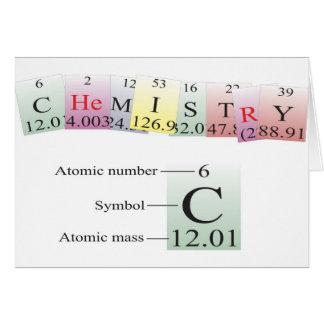 Chemie buchstabiert mit Elementen Karte