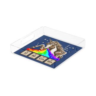 Chemie-Einhorn kotzt Regenbogen Acryl Tablett