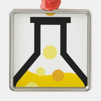 Chemie-Glaswaren Quadratisches Silberfarbenes Ornament