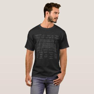 Chemie-Spickzettel-Männer weiß auf schwarzem T-Shirt