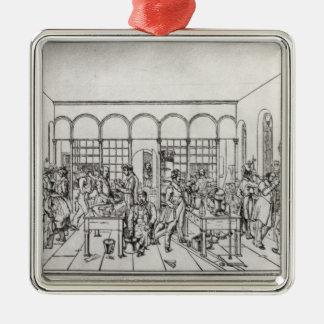 Chemielabor von Baron Justus von Liebig Quadratisches Silberfarbenes Ornament
