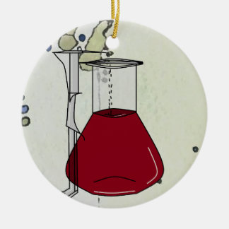 Chemiker-Chemie-Becher-Reagenzglas-Lösungen A Rundes Keramik Ornament