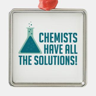 Chemiker haben alle Lösungen Quadratisches Silberfarbenes Ornament