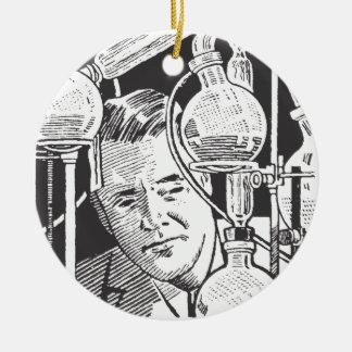 Chemiker in Schwarzweiss Rundes Keramik Ornament