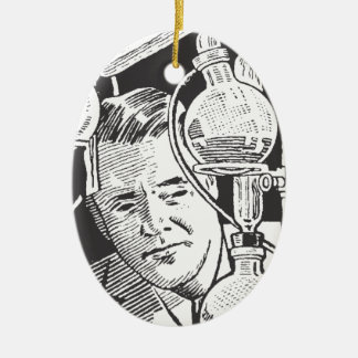 Chemiker in Schwarzweiss Ovales Keramik Ornament
