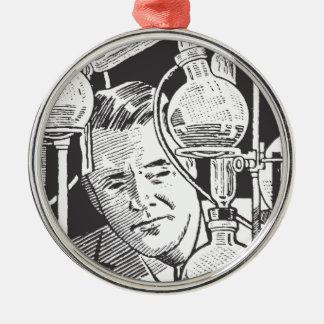 Chemiker in Schwarzweiss Rundes Silberfarbenes Ornament