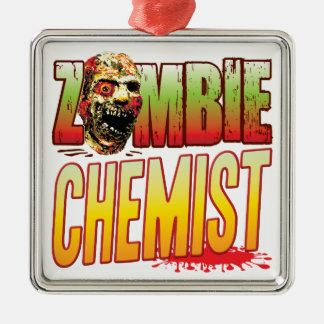 Chemiker-Zombie-Kopf Quadratisches Silberfarbenes Ornament