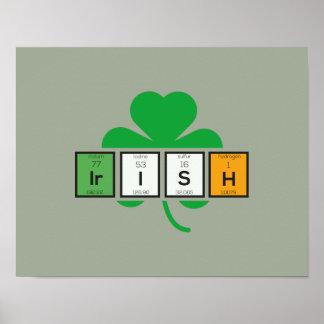 Chemisches Element Zz37b des irischen Cloverleaf Poster