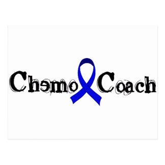 Chemo Zug - Darmkrebs-blaues Band Postkarte