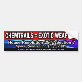 Chemtrails = exotische Waffen Autoaufkleber