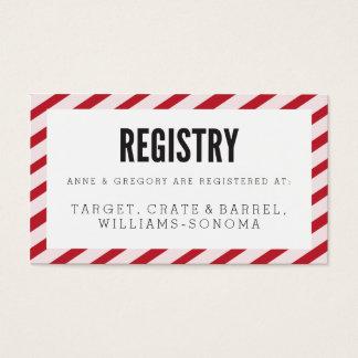 Cherry Red Carnival Stripes Registry Insert Card Visitenkarte