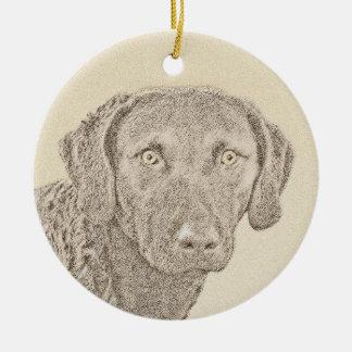 Chesapeake Bay-Retriever Rundes Keramik Ornament