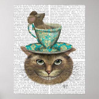 Cheshire-Katze mit Schale auf Kopf Poster