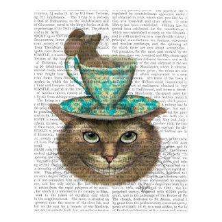 Cheshire-Katze mit Schale auf Kopf Postkarte